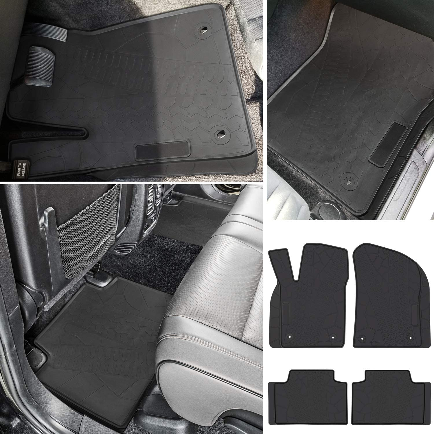 Black 4PCS E-cowlboy Floor Mat for Jeep Grand Cherokee 2016 2017 2018 2019 2020 Heavy Duty Rubber Front+Rear Car Liner Carpet All Weather Custom Fit Waterproof Odorless