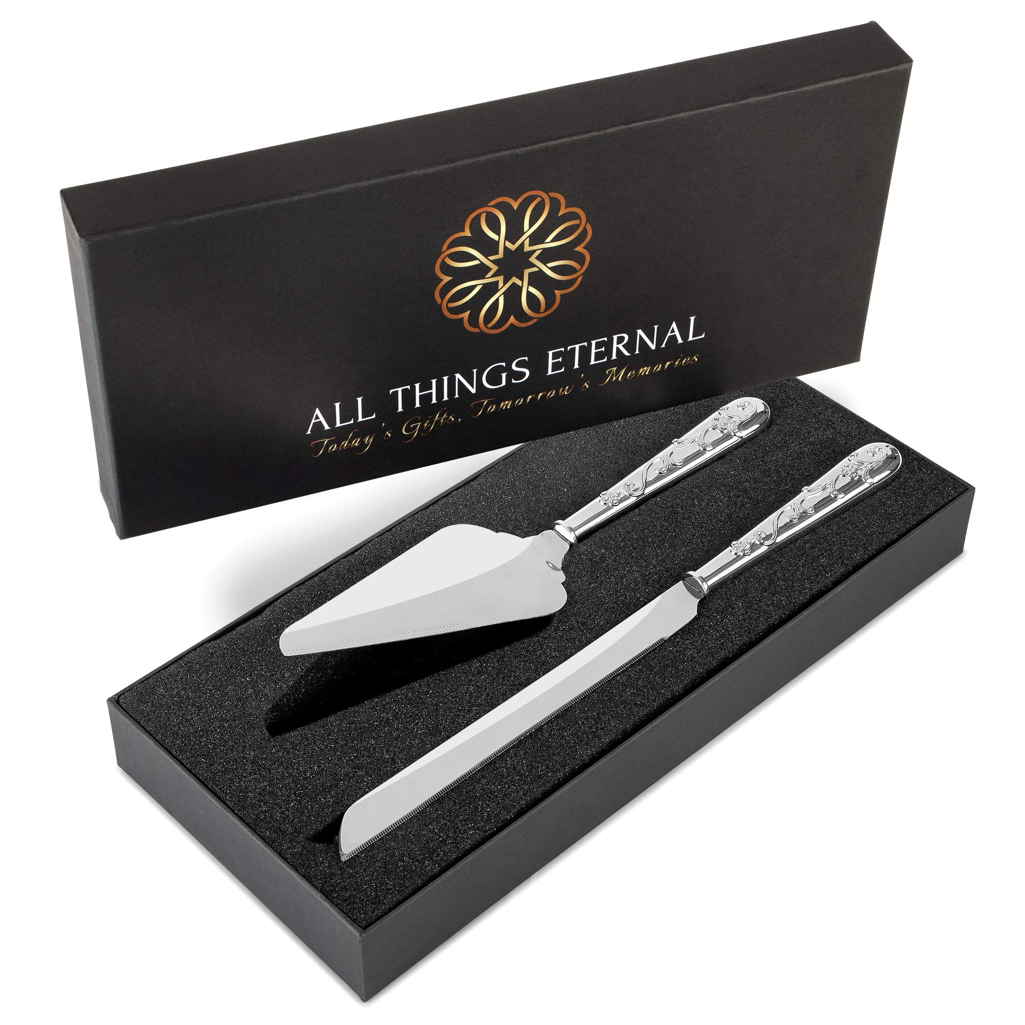 Wedding Cake Knife and Server Set, Silver-Plated with Hand-Set Crystals - Decorative Cutting and Serving Utensils for Cakes, Pie - Wedding Accessories and Gifts for Bride and Groom