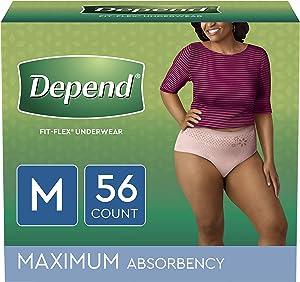 Depend FIT-FLEX Incontinence Underwear for Women, Disposable, Maximum Absorbency, Blush, Medium (56 Count)