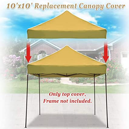 outlet store cf923 97bf3 Strong Camel Pop up 10'X10' Replacement Ez Gazebo Canopy Awning Roof Top  Cover (Tan)