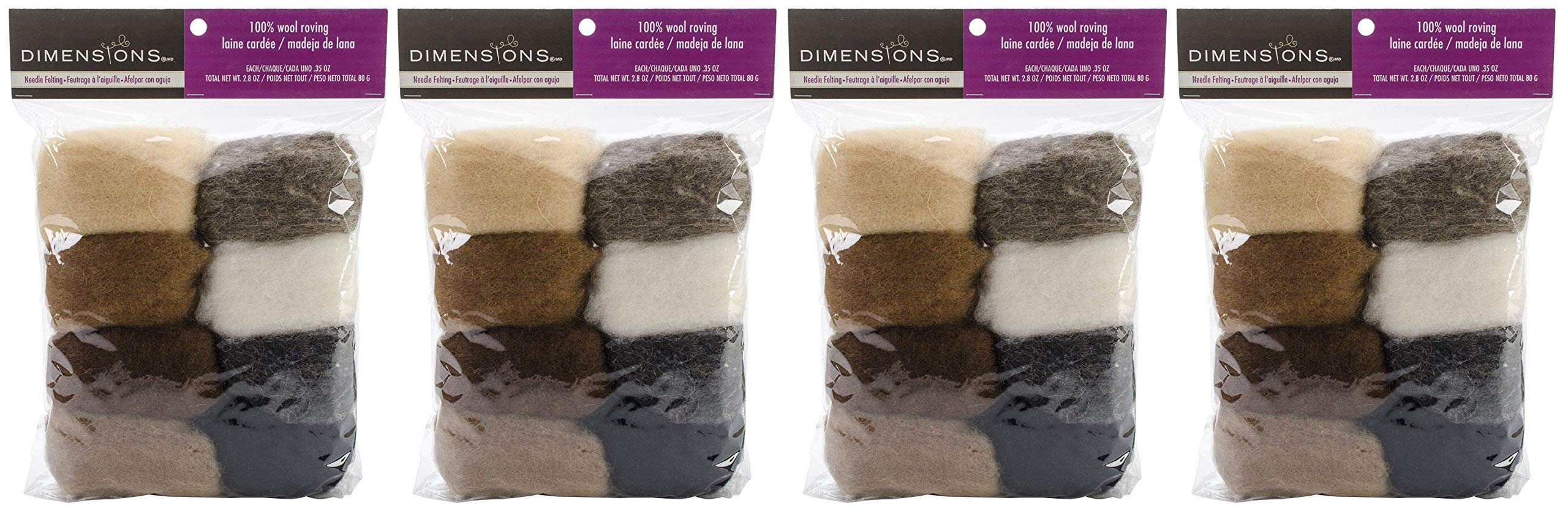 Dimensions Needlecrafts Natural Earth Tone Wool Roving for Needle Felting, 8 pack, 80g (Fоur Paсk)