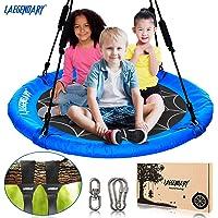 40 Inch Flying Saucer Tree Swing for Kids - Round Indoor Outdoor Swingset Toys - 450 Lbs Sensory Web Tire Swings - Durable Frame , Waterproof Yard Swings Set - 2 Tree Straps , 2 Carabiners , 1 Swivel