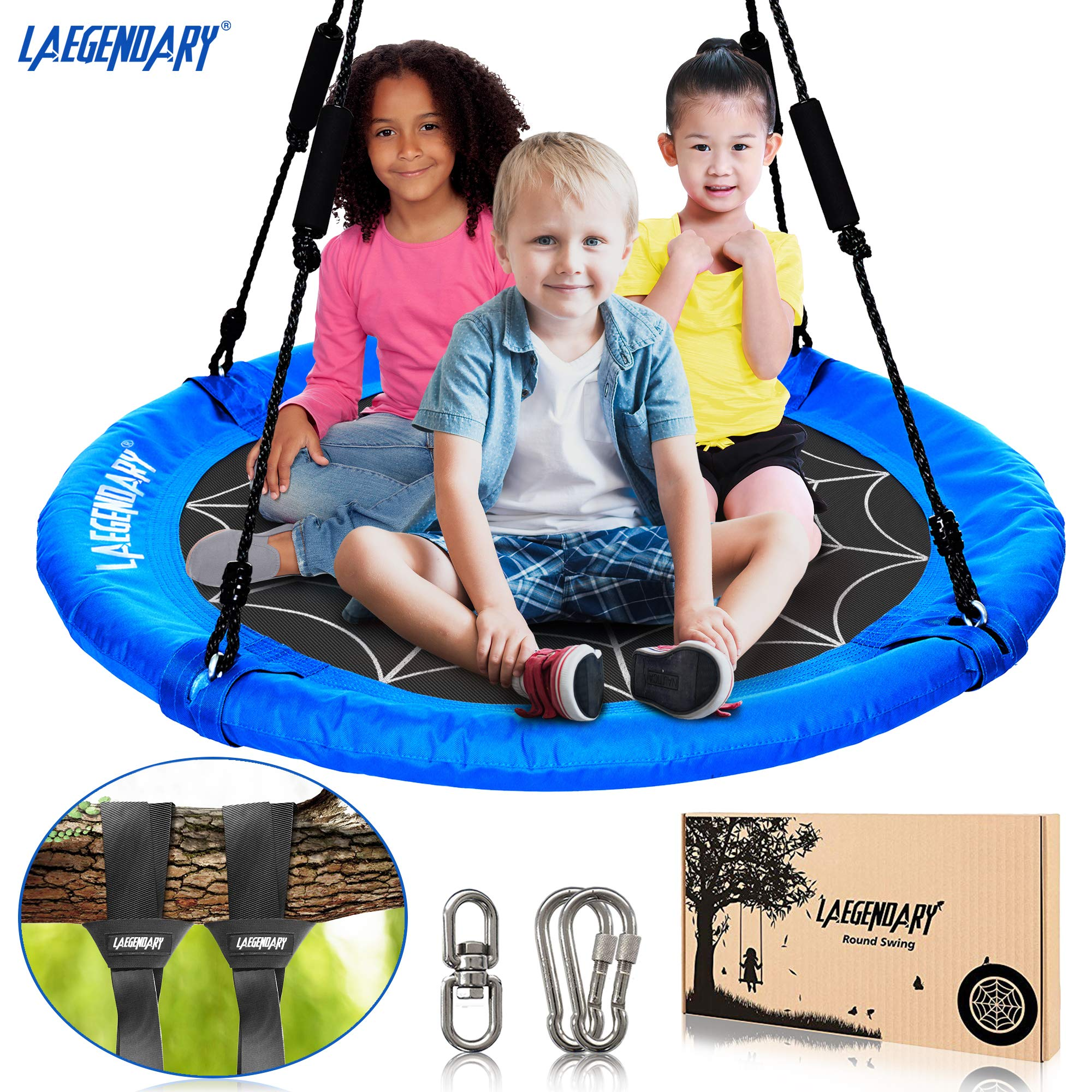 40 Inch Flying Saucer Tree Swing for Kids - Round Indoor Outdoor Swingset Toys - 450 Pounds Sensory Web Tire Swings - 2 Tree Straps, 2 Carabiners, 1 Swivel - Durable Frame, Waterproof Yard Swings Set by LÆGENDARY