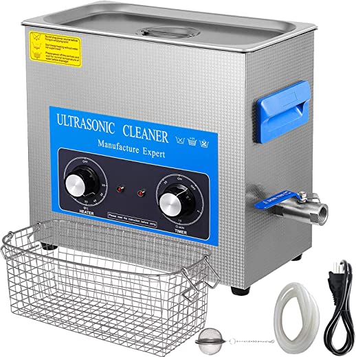 Mophorn 10L Ultrasonic Cleaner 304 Stainless Steel Professional Knob Control Ultrasonic Cleaners with HeaterTimer for Jewelry Watch Glasses Circuit Board Dentures Small Parts Dental Instrument