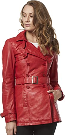 Trench Ladies Double Breasted Mid Length Designer Real Leather Jacket