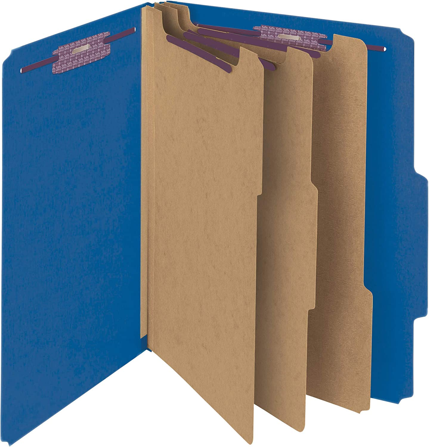 Amazon Com Smead Pressboard Classification File Folder With Safeshield Fasteners 3 Dividers 3 Expansion Letter Size Dark Blue 10 Per Box 14096 Top Tab Classification Folders Office Products