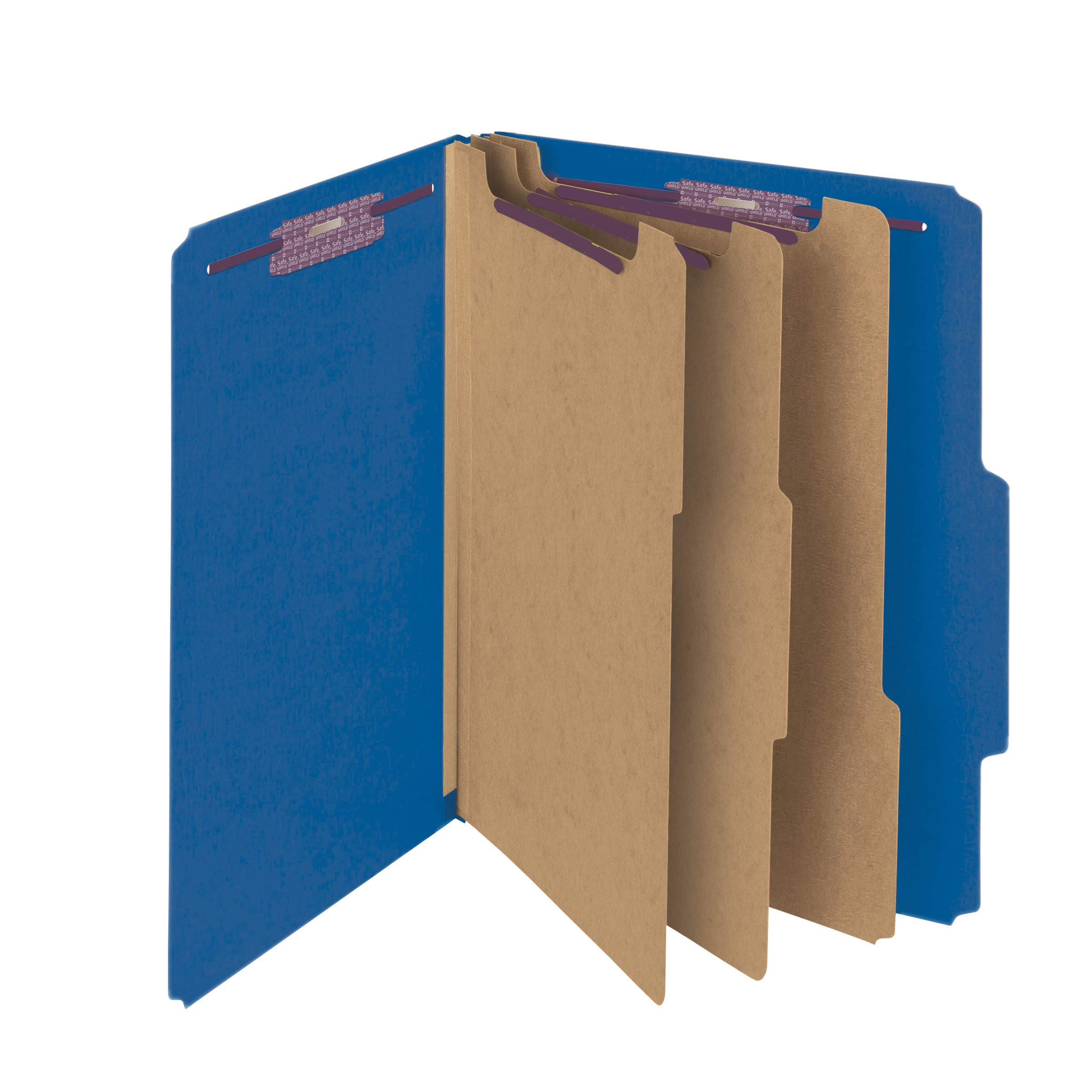 Smead Pressboard Classification File Folder with SafeSHIELD Fasteners, 3 Dividers, 3'' Expansion, Letter Size, Dark Blue, 10 per Box  (14096)