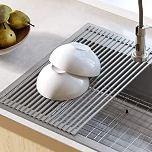 Kraus KRM-10GREY Silicone-coated stainless steel Over the Over the Sink Multipurpose Roll-Up Dish Drying Rack, Grey