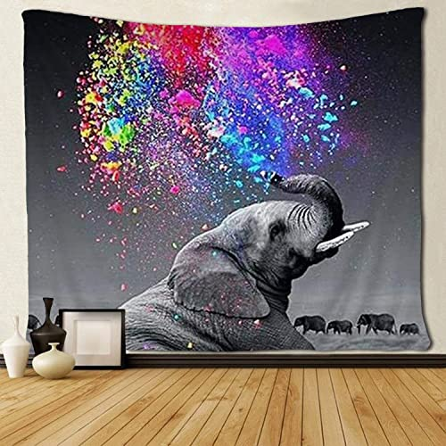 SARA NELL Funny Animal Wall Tapestry Elephant Rainbow Colorful Art Tapestries Hippie Art Wall Hanging Throw Tablecloth 60X90 Inches for Bedroom Living Room Dorm Room
