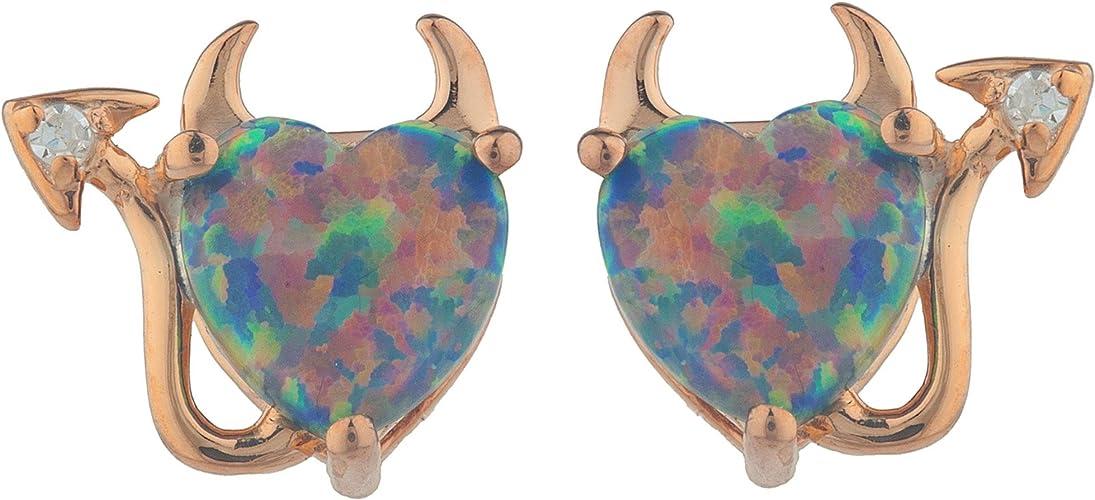 Simulated Black Opal /& Diamond Devil Heart Stud Earrings .925 Sterling Silver Rhodium Finish