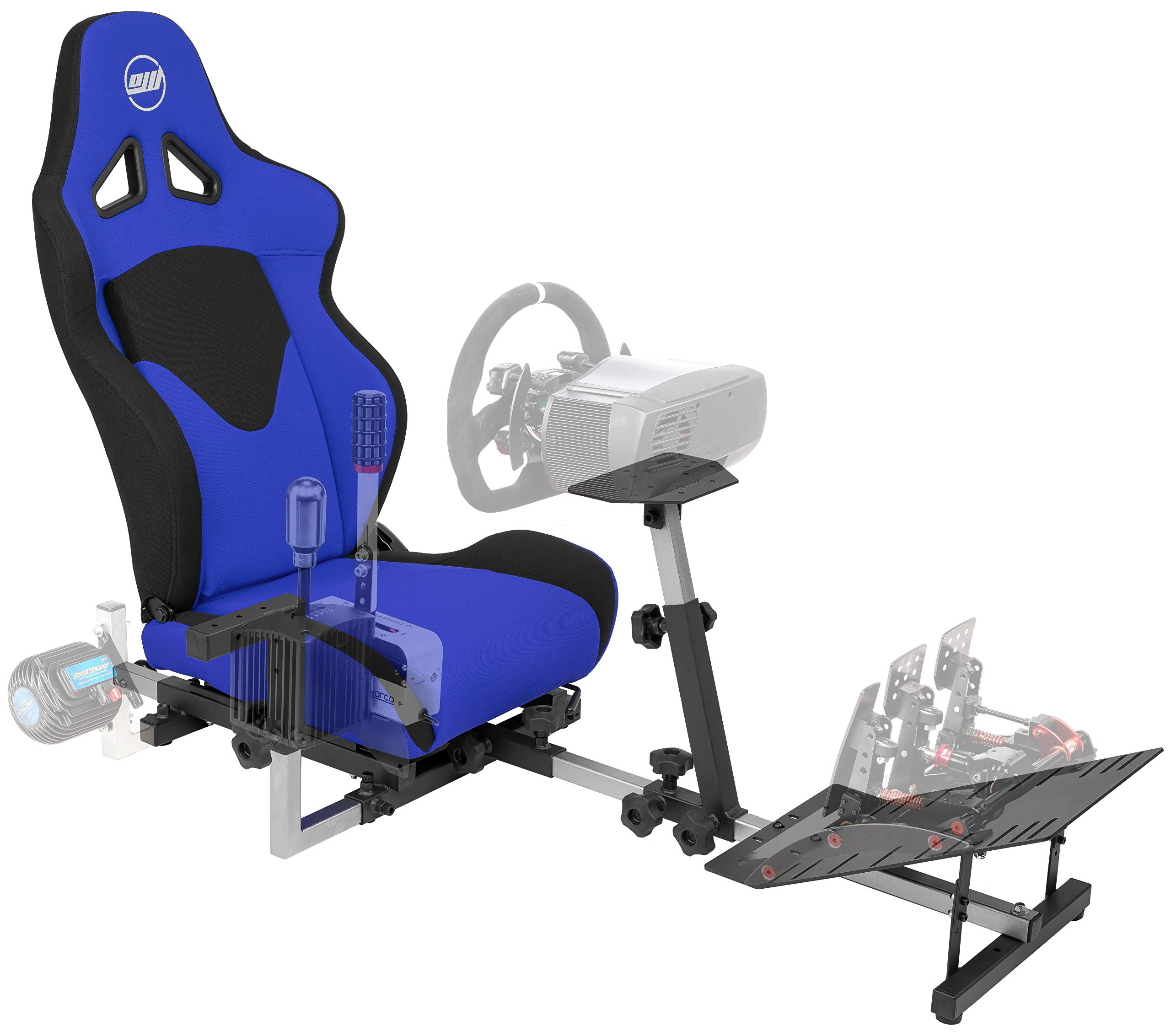 OpenWheeler GEN3 Racing Wheel Stand Cockpit Blue on Black   Fits All Logitech G923   G29   G920   Thrustmaster   Fanatec Wheels   Compatible with Xbox One, PS4, PC Platforms