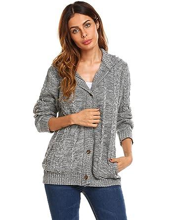 84d8e7337e Chigant Women s Hooded Cable Knit Cardigan Long Sleeve Chunky Knitwear  Sweater Full Zip Coat Autumn Winter Top UK  Amazon.co.uk  Clothing