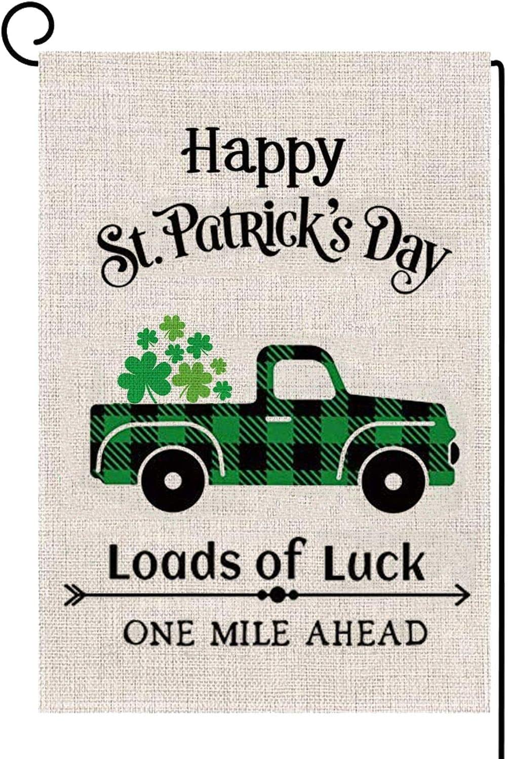 Alpurple St. Patrick's Day Plaid Garden Flag-12.5 x 18 Inch Double-Sided Printed Lucky Truck Spring Yard Burlap Banner for Home & Outdoor Decoration