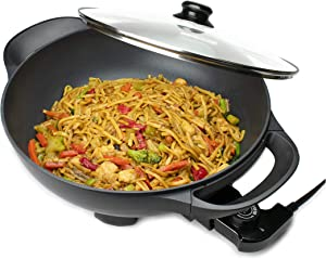 Brentwood Appliances SK-69BK 13-Inch Non-Stick Flat-Bottom Electric Wok Skillet with Vented Glass Lid Other Kitchen Appliances, Normal, Black