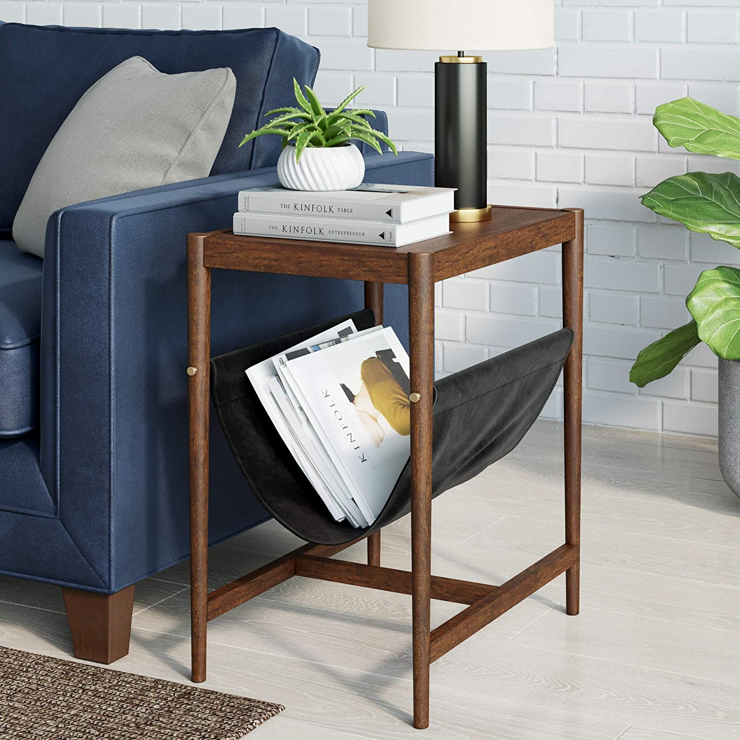 Nathan James Nelly Mid-Century Rustic End or Side, Wood and Black Metal Rectangle Sofa Table with Vegan Leather Magazine Holder Sling, Nightstand, Oak