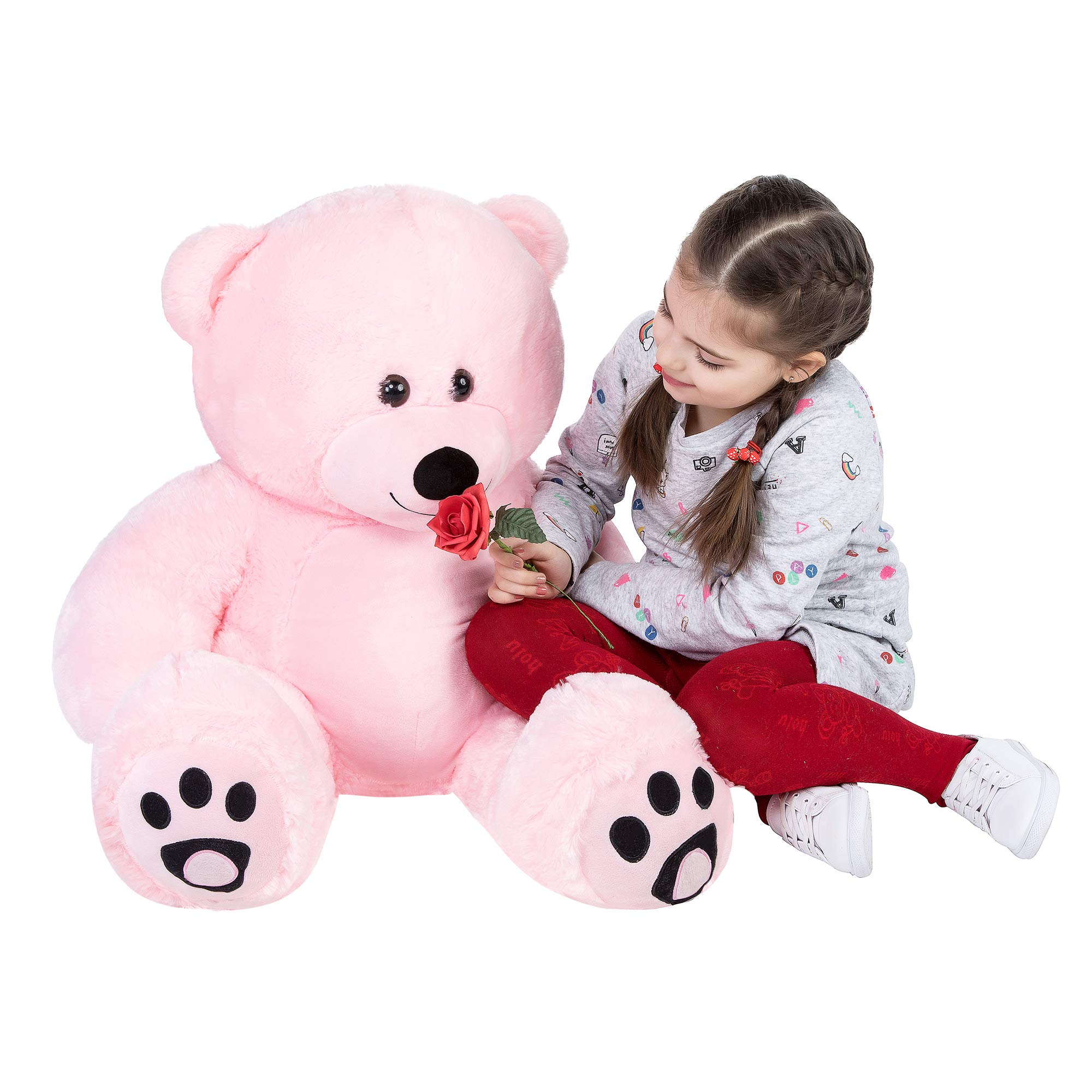 VERCART Giant Huge 3 Foot Teddy Bear Cuddly Stuffed Animals Plush Teddy Bear Toy Doll for Birthday Children's Day Valentine's Day Pink 36 Inches by VERCART