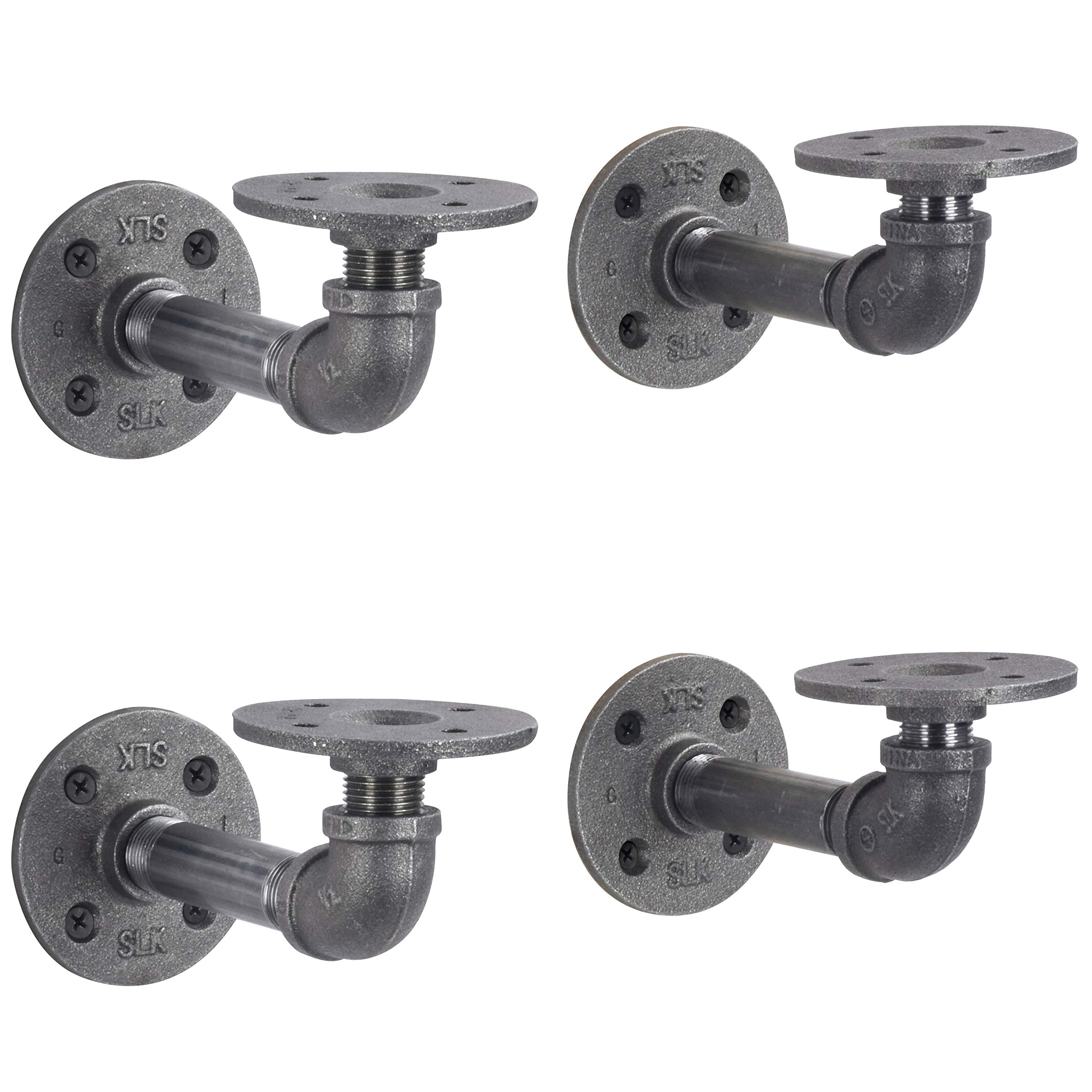 Rustic Pipe Decor Industrial Shelf Brackets – Double Flange Bracket Set of Four, Iron Metal Grey Black Fittings, Custom DIY Floating Shelves, Vintage Furniture Decorations, Wall Mounted (4 Inch Pipe) by PIPE DÉCOR (Image #1)
