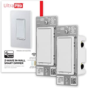 UltraPro White Z-Wave Plus Smart Light Dimmer Switch, in-Wall Paddles | Repeater Range Extender | ZWave Hub Required-Alexa and Google Assistant Compatible, 2 Pack, 54897, 2