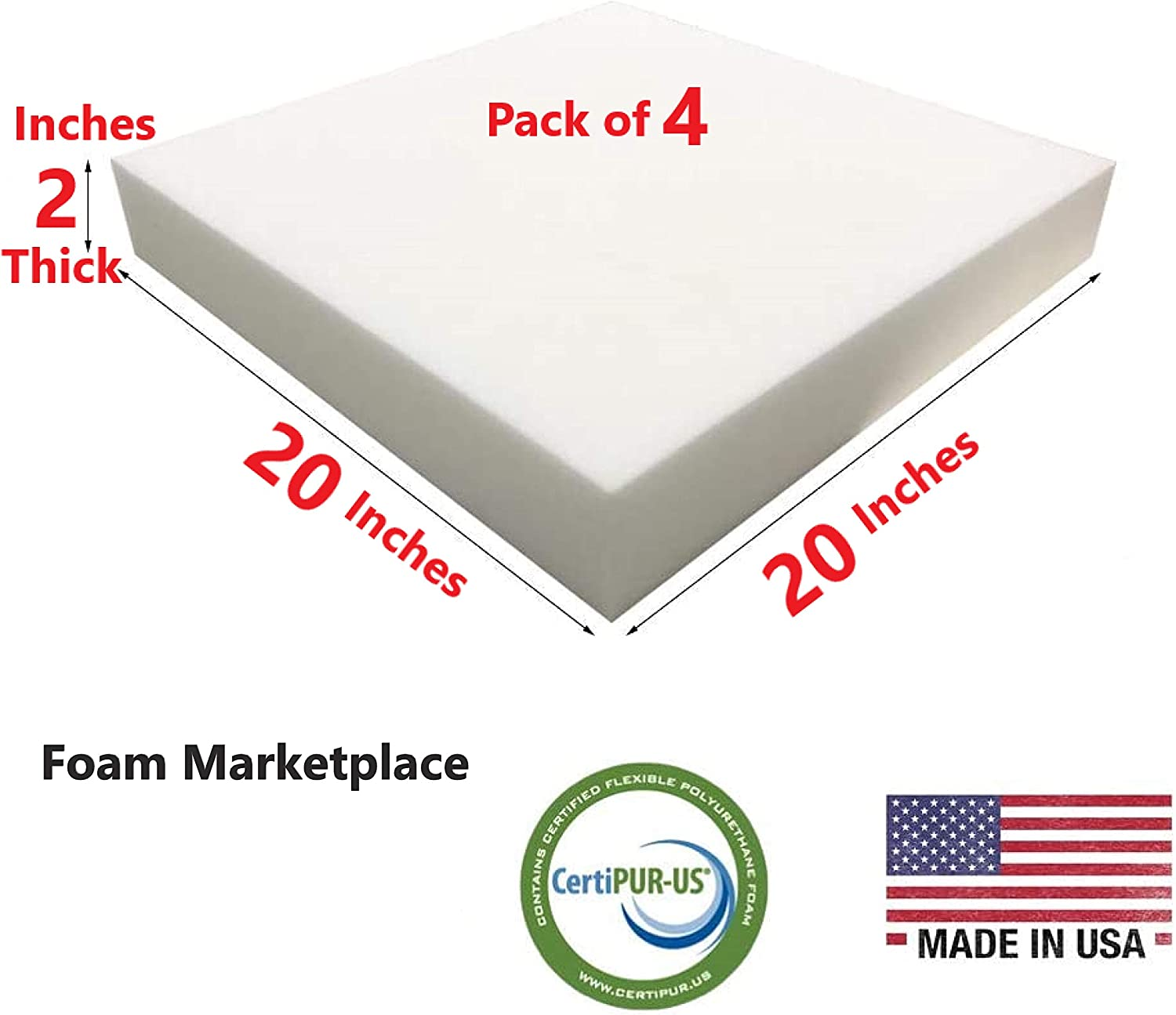 Set of 4 Foam Marketplace High Density Upholstery Foam Length 20 Width 20 Height 2 Inches 1.8lb Density /& 46 ILD Easy to Customize Polyurethane Couch Cushion Replacement for Indoor Outdoor Furniture