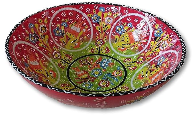 Cuenco grande turco pintado a mano de cerámica para ensalada de frutas, flor decorativa única - 26 cm rojo: Amazon.es: Hogar