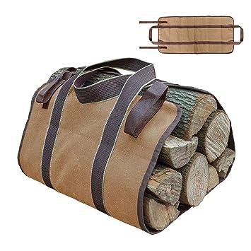 Aolvo Firewood - Bolsa de lona de tela Oxford de gran resistencia, para leña, bolsa de transporte ...