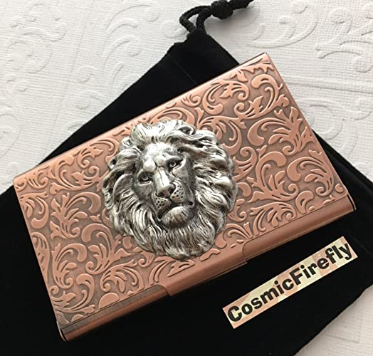 premium selection 4b8f3 9cd35 Amazon.com: Leo Lion Business Card Case Copper Card Wallet: Handmade