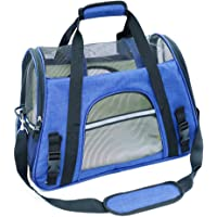 Airline Approved Soft Sided Pet Carrier by Mr. Peanut's, Two-Tone Luxury Travel Tote with Fleece Bedding, New Design, Under Seat Compatibility, Perfect for Cats and Small Dogs (Deja Blue)