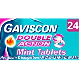 Gaviscon Heartburn and Indigestion Tablets, Double Action, Mint Flavour, Pack of 24