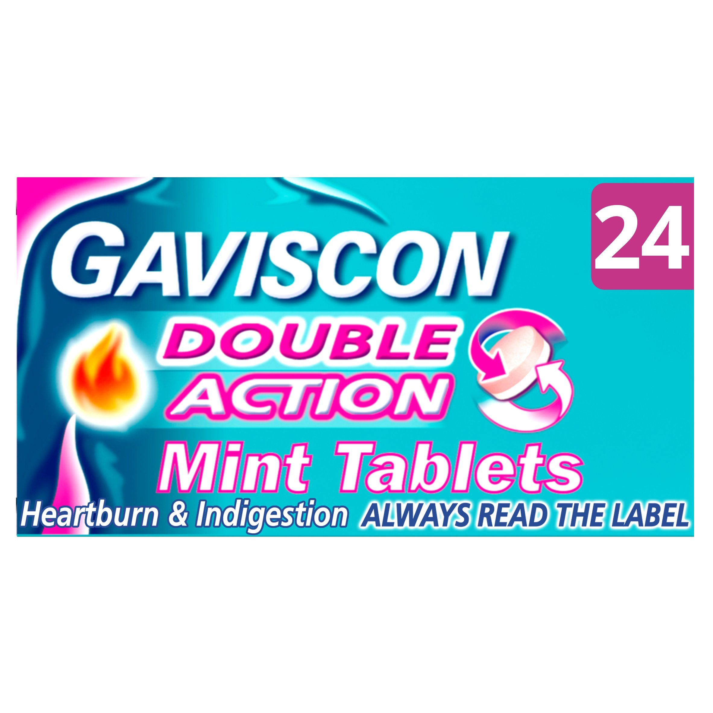 Gaviscon Double Action Mint Tablets, Pack of 24 Tablets