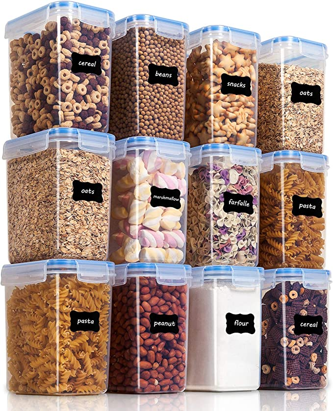 Vtopmart Airtight Food Storage Containers 12 Pieces 1.5qt / 1.6L- Plastic PBA Free Kitchen Pantry Storage Containers for Sugar, Flour and Baking Supplies - Dishwasher Safe - Include 24 Labels best pantry organization systems