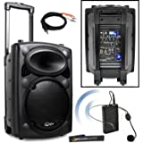 QTX QR10PA Portable PA System with VHF Wireless Headset Microphone | Battery Powered Speaker + iPod Connection Cable
