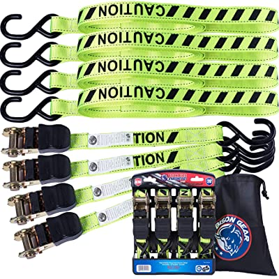 Ratchet Tie Down Straps 20 ft 4 Pack by Bison Gear High Visibility UV Resistant 2200lb Heavy Duty Cargo Straps with Ergonomic Rubber Grips & Coated Deep S Hooks - Safety Standards Certified: Automotive