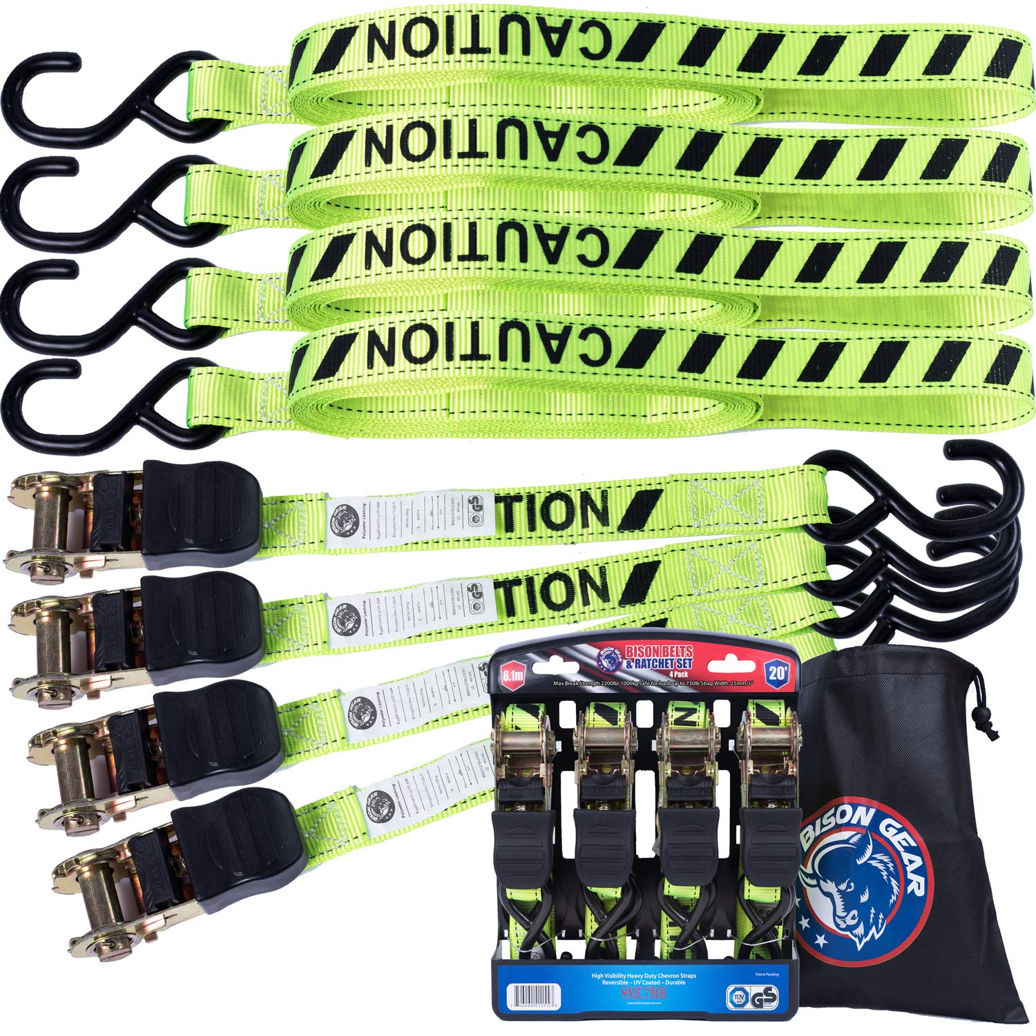 Ratchet Tie Down Straps 20 ft 4 Pack by Bison Gear High Visibility UV Resistant 2200lb Heavy Duty Cargo Straps with Ergonomic Rubber Grips & Coated Deep S Hooks - Safety Standards Certified by Bison Gear