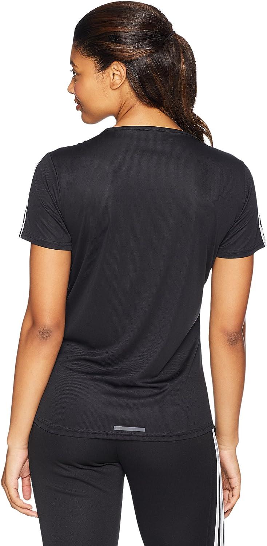 adidas 3-Stripes Run Tee - Manches Courtes - Femme Noir/Blanc