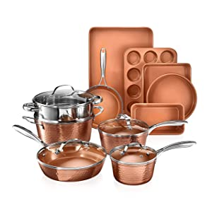 Gotham-Steel-2984-Hammered-Copper-Collection--15-Piece-Premium-Cookware-Bakeware-Set-with-Nonstick-Coating-Aluminum-Composition-Includes-Fry-Pans-Stock-Pots-Bakeware-Set-More-Dishwasher-Safe