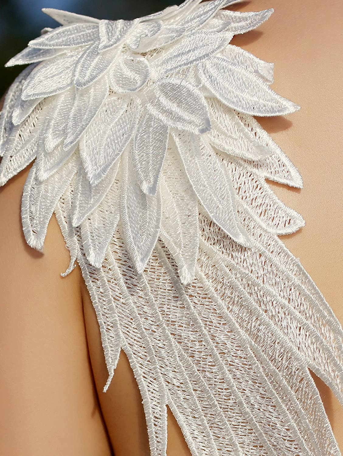 d29a5d5a2a CHOiES record your inspired fashion Choies Womens White Plunge V-Neck Angel  Wings Open Back