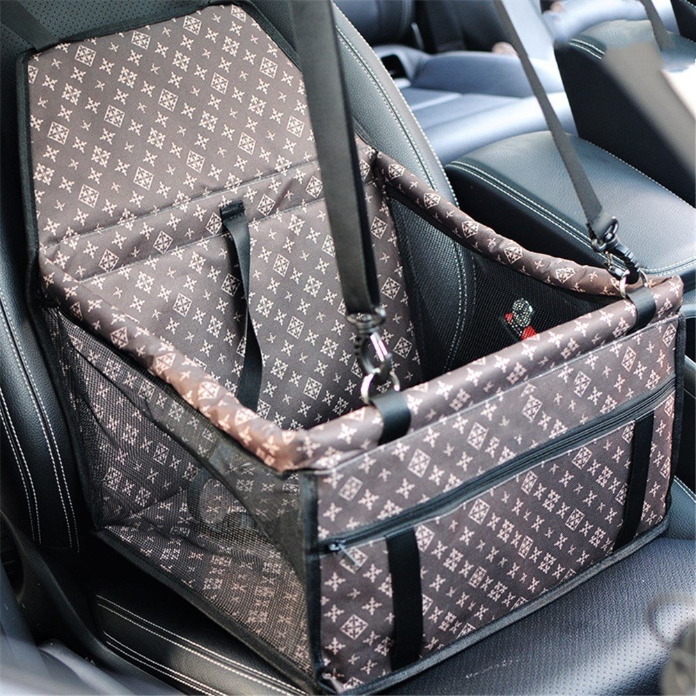 Luxury Enhanced Version Dog Cat Puppy Pet Car Booster Seat Travel Carrier Bag Cage Tote Kennel With Seat Belt Waterproof Oxford Cloth Breathable Mesh Yarn Hanging Bag by Amazon