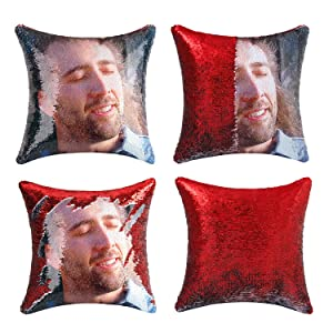 cygnus Nicolas Cage Sequin Pillow Cover Magic Mermaid Reversible Pillowcase That Color Changes Home Decor Throw Pillow Case Sofa Cushion Cover (Red Sequin)