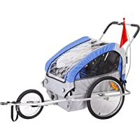 KMS Child 3 In 1 Folded Bike Trailer Stroller Jogger Seat Buggy Lightweight Blue Gray 1-2 Child 5 Point Harness With Canopy Visible Flag
