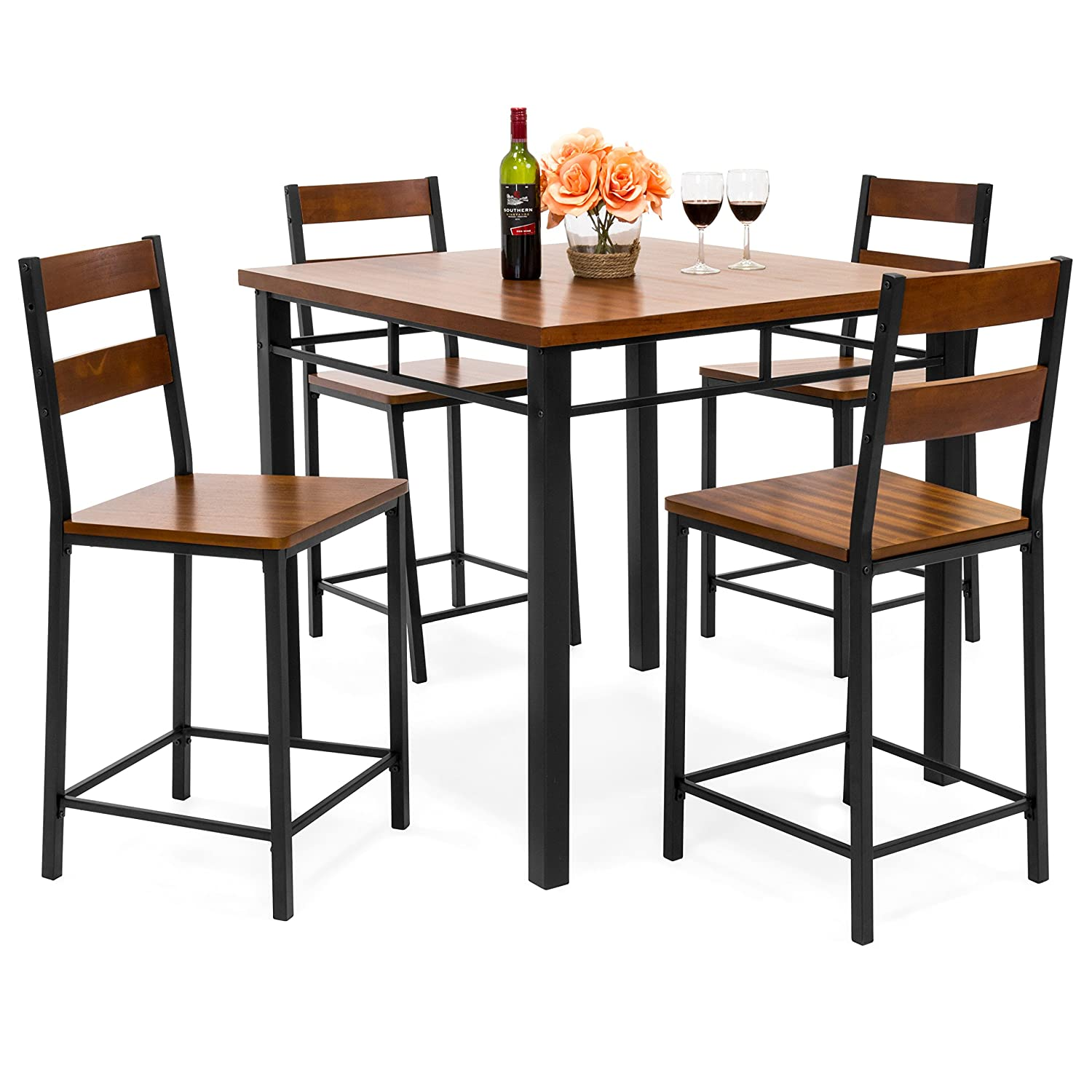 Best Choice Products 5-Piece Wood Finish Counter Height Square Table Dining Set w/ 4 Bar Stools, Steel Frame