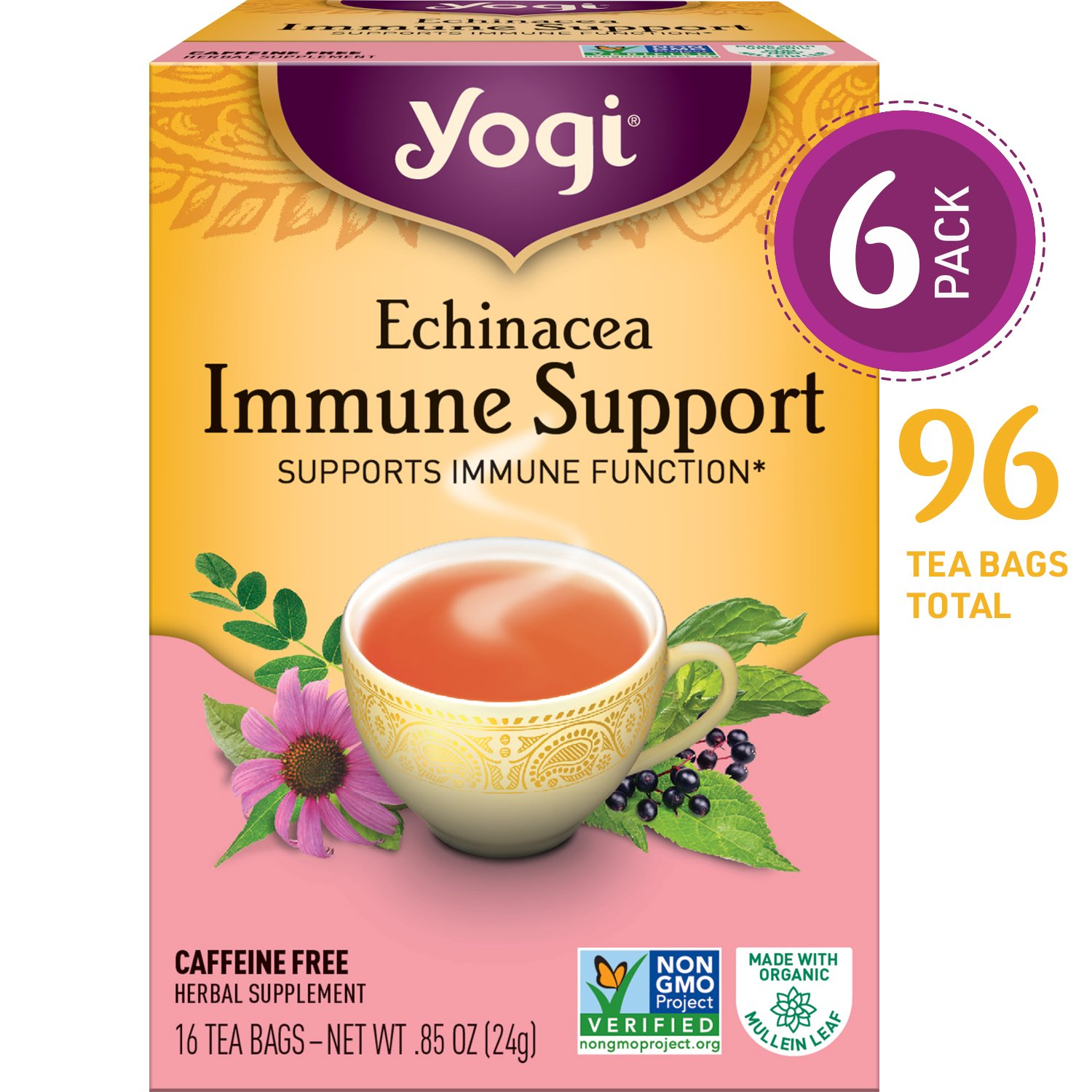 Yogi Tea, Throat Comfort, 16 Count (Pack of 6), Packaging May Vary 076950450189
