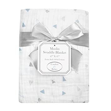 American Baby Company 100/% Natural Cotton Muslin Swaddle Blankets Soft Breathable 3 Count Black and Gray for Boys and Girls 47 x 47