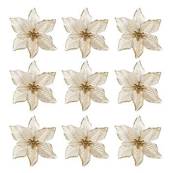 Gosear 10 Stk Xmas Glitter Kunstliche Blumen Ornamente Dekorationen