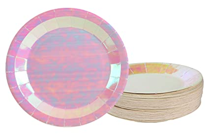Disposable Plates - 48-Pack Paper Plates Party Supplies for Appetizer Lunch Dinner  sc 1 st  Amazon.com : pink disposable plates - pezcame.com