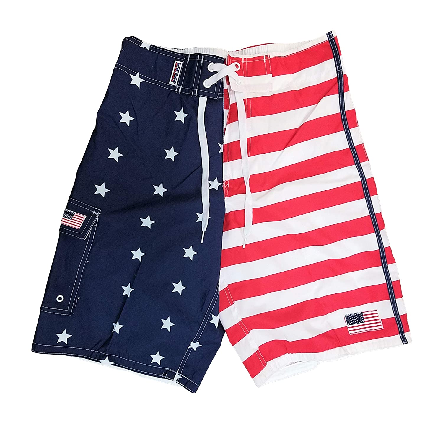 f484a74cd0 Exist American Flag Shorts Men - Bathing Suit American Flag Swim Trunks Men  | Amazon.com