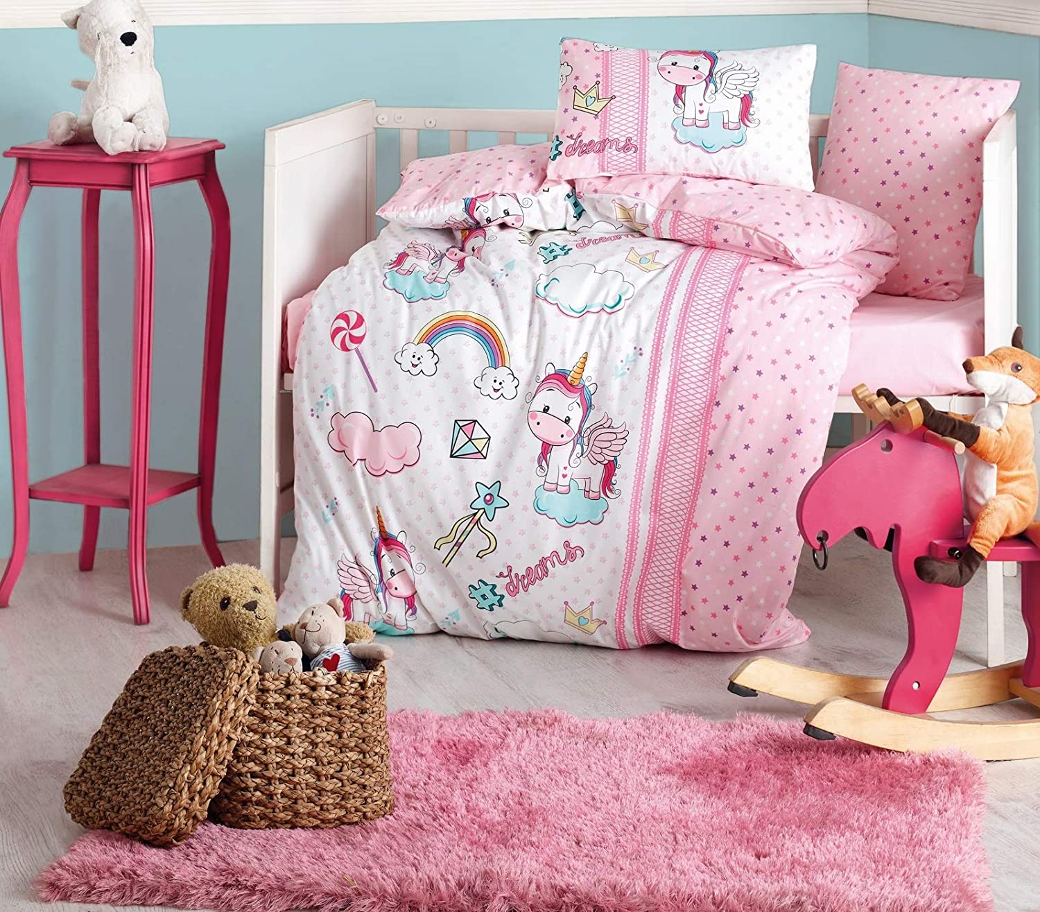 100% Cotton Unicorn Themed Nursery Baby Bedding Set, Toddlers Crib Bedding for Baby Girls, Duvet Cover Set with Comforter, Pink, 5 Pieces 810sZs2rGNL._SL1500_