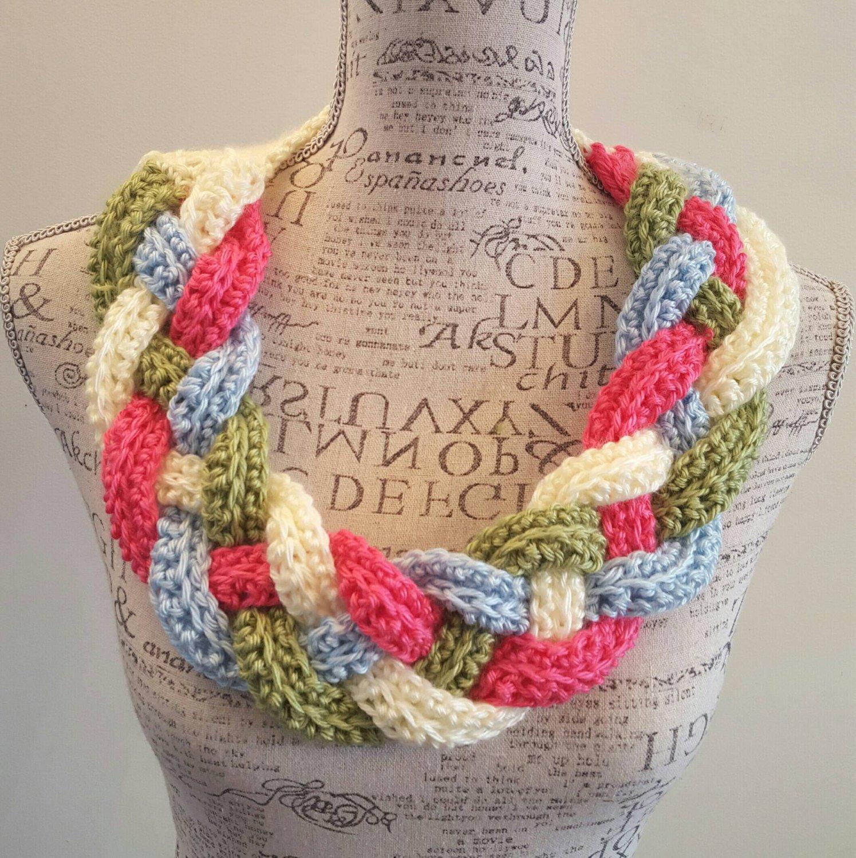 Amazoncom Crochet Pastel Braided Cowl Infinity Cowl Braid Cowl