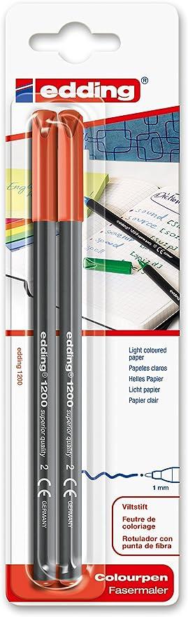 edding 1200/2-02 - Blíster con 2 rotuladores, color rojo: Amazon.es: Oficina y papelería