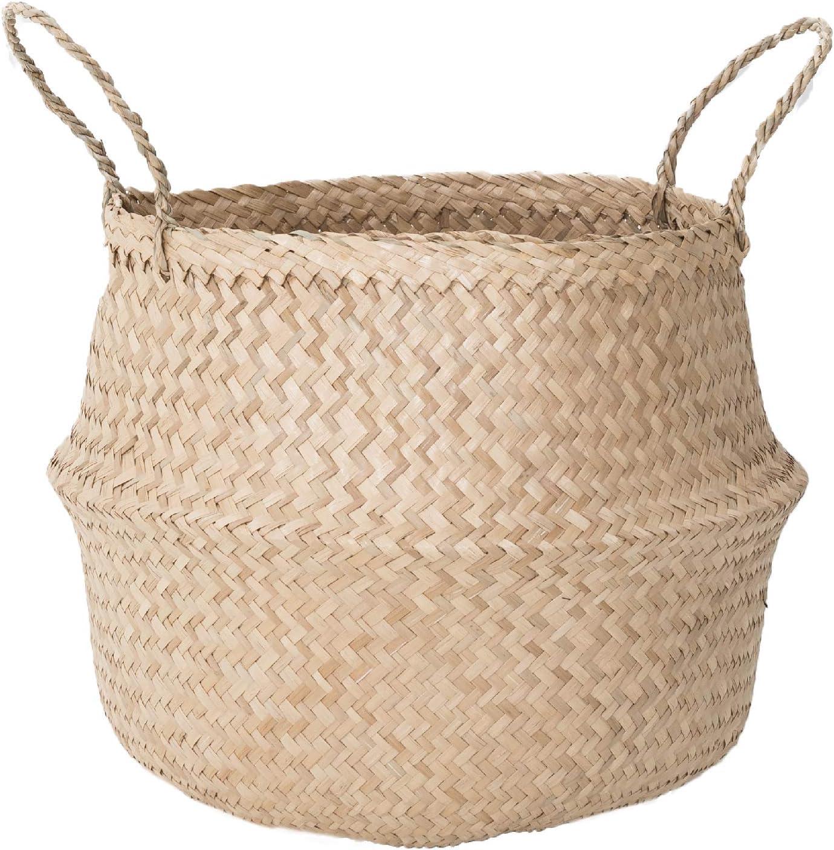 Sona Home Seagrass Basket with Handles | 4 Sizes, 2 Styles | Woven Basket for Plants, Belly Basket, Blanket Holder | Multipurpose Decorative Storage Baskets