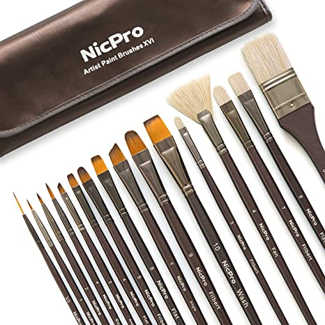 Paint Brushes Size 10 Wooden Handle Round Hog Bristle Art /& Craft Pack of 10